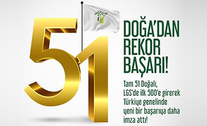 DOĞA KOLEJİ 51 ÖĞRENCİSİ İLE LGS DE İLK 500 DE!